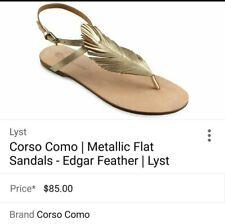 Corso Como Women's SZ .9 Leather Sandals Flat Gold Ankle Strap Edgar