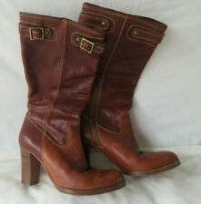 Coach Brown Cognac Leather Boots Buckle Stacked Heel Name Vintage RARE sz 7.5