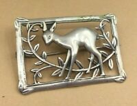 Vintage Sterling Pin 925 Silver Casting Deer & Trees Square Brooch Coro