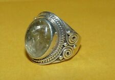 ~OLD~PAWN~NATIVE~AMERICAN~NAVAJO~STERLING~SILVER~RUTICULATED~QUARTZ~RING~SIZE~7~