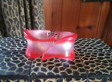 VINTAGE LUCITE RED/PINK CANDY RIBBON CLAMPER BRACELET  HIGH SHINE **EXQUISITE**