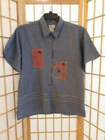 Bobbie Brooks Womens Button Short Sleeve Denim Embroidered Shirt Top Blouse XL