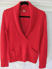 J.Crew Sweater-Deep V Neck Shawl Collar Pockets-Alpaca/Wool Blend-Red-Size Small