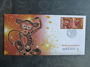 GIBRALTAR 2016 YEAR OF THE MONKEY SET 2 STAMPS FDC FIRST DAY COVER