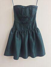 TOPSHOP Dark Green Black Satin Strapless Bodice Corset Bow Dress - UK 6
