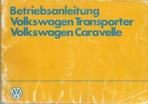VW T3 TRANSPORTER CARAVELLE Betriebsanleitung 1983 Bedienungsanleitung BA