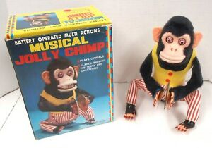 CK MUSICAL JOLLY CHIMP Clapping Cymbals Tin Toy Monkey 4910 MINT TESTED WORKS