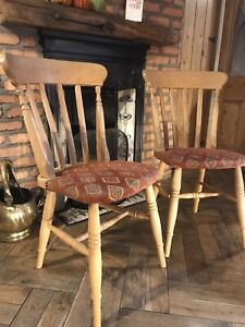 2x Solid Beech Farmhouse Dining Chairs