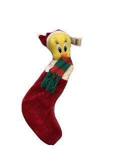 Vintage 1998 Christmas Tweety Bird Warner Bros. Studio Stocking Looney Tunes GUC