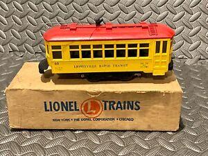 Lionel 60 Vintage O Lionelville Motorized Rapid Transit Trolley W/ Original Box