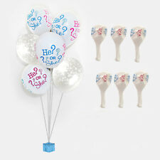 6pcs GENDER REVEAL BABY HE OR SHE LATEX BALLOON BOUQUET BOY GIRL PARTY SHOWER