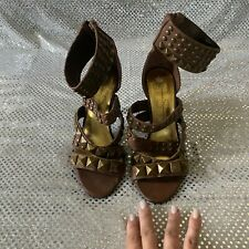 Jessica Simpson Strappy Shoes Brown Leather Heels Studded Sz 6.5