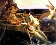 Print Nude Women Evil Circe Temptation Nymph Ulysses Sailor Seductive Mermaid