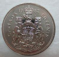 1982 CANADA 50¢ HALF DOLLAR COIN BRILLIANT UNCIRCULATED