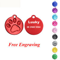 2pcs Customised Pet ID Tags Engraved Dog Cat Name Tags Paw Puppy Collar Pendant