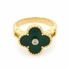 Van Cleef & Arpels Vintage Alhambra Green Chalcedony Gold Diamond Ring Size 6