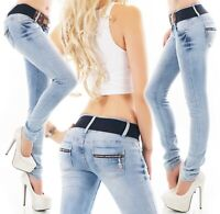 Damen Jeans Hose Röhrenjeans Skinny Denim Stretch blue washed Gürtel XS S M L XL