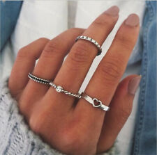 4Pcs/Set Women Crystal Silver Above Knuckle Fashion Finger Ring Band Midi Rings