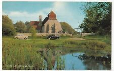 Suffolk; Friston Church & Pond PPC, By Salmon, 1960s Eastbourne Promotional PMK