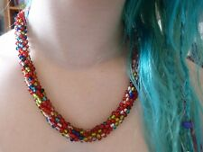 Fair Trade Classically Quirky Necklace Boho Multicolour Bead Choker One Button