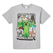 Mojang Minecraft Boys Short-Sleeve Graphic T-Shirt / TEE (Gray, XS, S, M, L, XL)