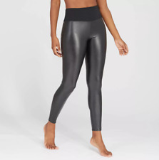 Assets by Spanx Women's All Over Faux Leather Leggings, MEDIUM, Black