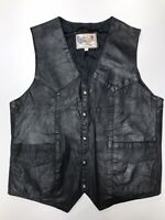 Vintage Leather Wear Black Leather Motorcycle Vest Size Large