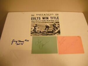 1958 baltimore colts, johnny unitas, ameche, L. moore signed cut signatures JSA