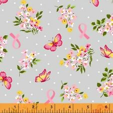 BY 1/2 YD~ANYTHING IS POSSIBLE~WINDHAM~FLOWERS BUTTERFLIES~BREAST CANCER~42140-1
