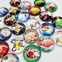 "10/30pcs 1""  25mm Christmas Glass Flatback Resin Craft Scrapbooking Button"
