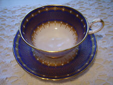 TUSCAN BONE CHINA TEA CUP AND SAUCER COBALT & INTRICATE GOLD W/ WHITE BEADS EXC