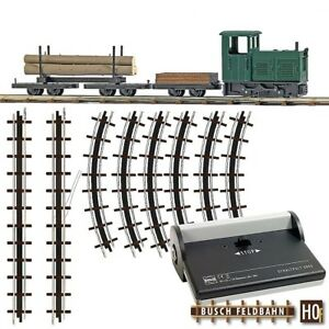 Busch 12003 - H0 Forest Railway Start Set With Field & Two Car & Rails - New