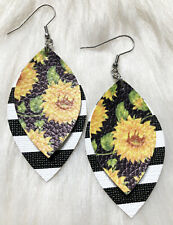 Sunflower / Black And White Stripe Faux Leather Earrings Double Layer