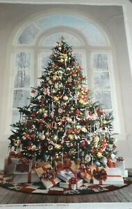 "New 100% Cotton Fabric Panel ""Ol' St. Nick"" Christmas Tree Design W 29"" x L 44"""