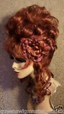 Drag Queen Wig Up Do Auburn Red Curls French Twist Tendrils all Around Bangs