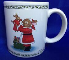 Bunny Rabbit Santa Coffee Mug By Susan Labelle Vintage Christmas 1986 Sack Toys