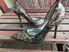*bLacK SeQuiNs NEW 6 Silver Pointy Toe Stiletto Heels PUMP CARRIE GuESS Party