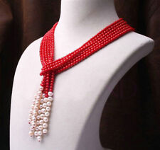 """4mm red coral and 7-8mm white freshwater pearl necklace 3 strand 50"""" PN1442"""