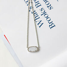 Kendra Scott Elisa Oval Pendant Necklace in Iridescent Drusy and Silver Plated