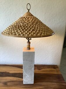 Walter Von Nessen Style~Mid Century Square Column Marble Table Lamp~Coolie Shade