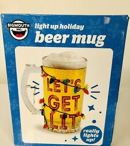 BIg Mouth Light Up Holiday Beer Mug Lets Get Lit White Elephant Gift Dirty Santa