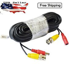 60ft Security Camera Cable CCTV Video Power Wire BNC RCA Cord For Camera DVR
