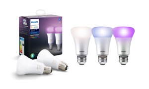 Philips E27 Hue White and Color Ambiance Light Bulb Pack of 2 [E27 Edison Screw]