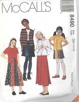 McCall's 8490 Girls' Unlined Jacket, Top and Skirt in Two Lengths Sewing Pattern