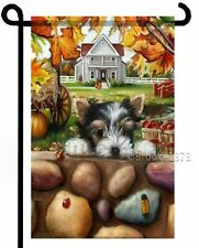 Biewer Terrier Garden Flag Puppy parti Yorkie Autumn painting Dog Art