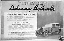 PUBLICITÉ DELAUNAY BELLEVILLE LES NOUVEAUX MODÈLES 11 14 ET 17 CV SIX CYLINDRES