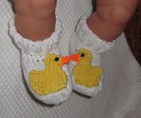 PRINTED  INSTRUCTIONS - BABY DUCK BOOTS ANIMAL BOOTEES BOOTIES KNITTING PATTERN