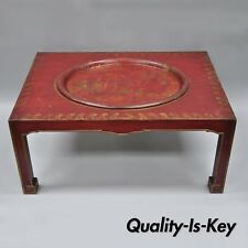 Vtg Red Chinoiserie Oriental Coffee Table with Removable Tole Metal Serving Tray