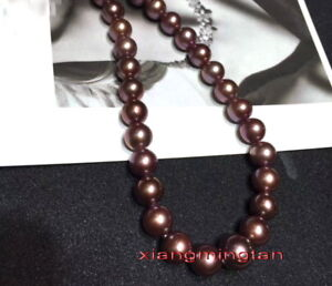 """AAAAA Luster 18""""9-10mm NATURAL real south sea chocolate pearl necklace 14K gold"""