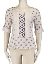 Vintage America Woman's Large Ivory/Navy Floral Print Embroidered Blouse NWT $69